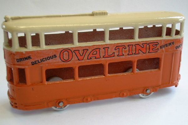 A DINKY TOYS COPY MODEL 27 TRAM IN ORANGE - OVALTINE